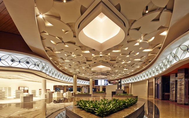Mumbai s new t2 airport terminal gfrg ceiling manufactured for Hispano international decor contact number
